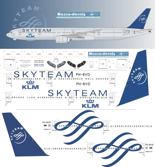 1/200  Scale Decal KLM 777-300 SKYTEAM