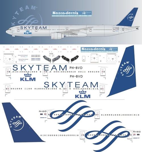 1/200  Scale Decal KLM 777-300 SKYTEAM