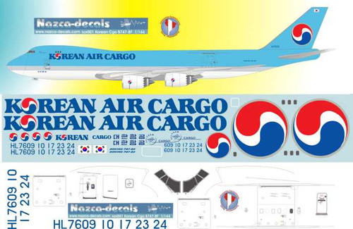1/144  Scale Decal Korean Air Cargo 747-8F
