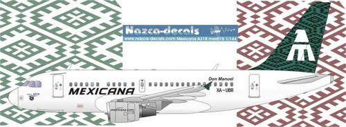 1/144 Scale Decal Mexicana A-318 GREEN Livery
