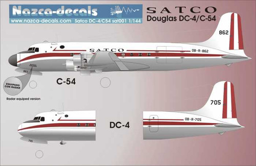 1/144 Scale Decal SATCO-Peru DC-4 / C-54