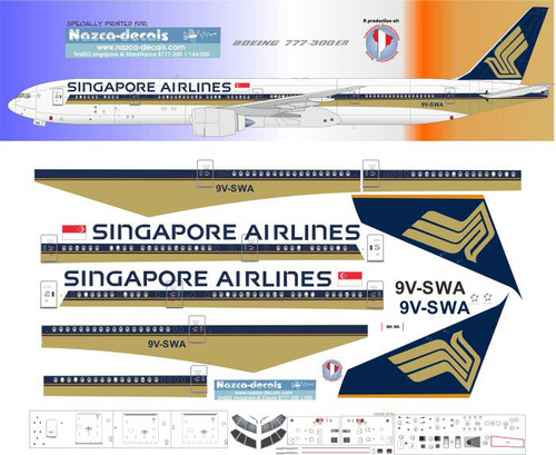 1/200 Scale Decal Singapore Airlines 777-300 Classic