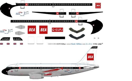 1/144 Scale Decal British Airways A-319 Retro BEA Red Box
