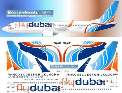 1/144 Scale Decal Flydubai 737