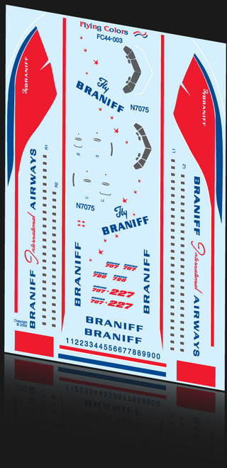 1/144 Scale Decal Braniff 707 Delivery Livery