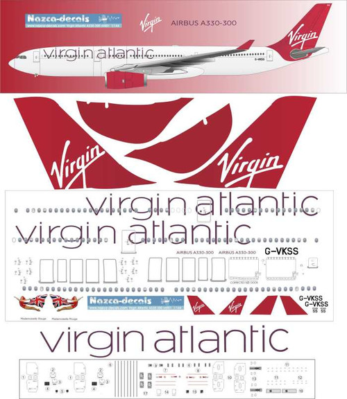 1/144 Scale Decal Virgin Atlantic A-330
