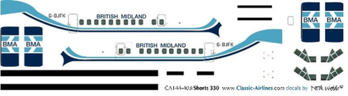 1/144 Scale Decal British Midland Shorts 330