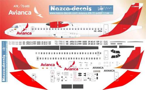 1/144 Scale Decal Avianaca ATR 72