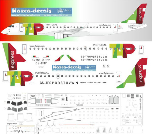 1/144 Scale Decal TAP EMB-190
