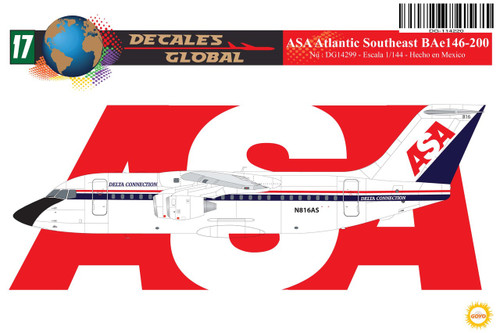 1/144 Scale Decal ASA - Atlantic Southeast BAe 146-200