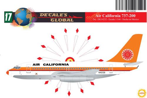 1/144 Scale Decal Air California 737-200 ORANGE