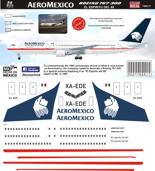 1/144 Scale Decal AeroMexico 767-300 Espiritu del 88