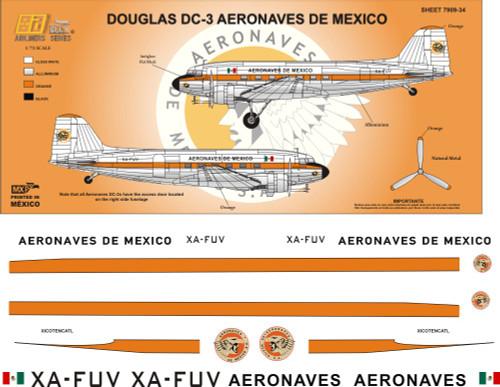 1/144 1/72 1/48 Scale DecalAeronaves de Mexico DC-360's