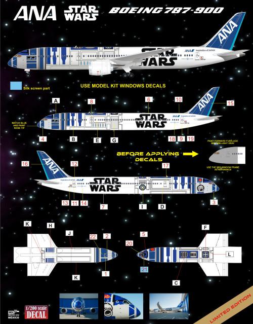 1/200 Scale Decal ANA 787-9 R2D2 Starwars Logojet