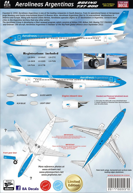1/144 Scale Decal Aerolineas Argentinas 737-800 2015