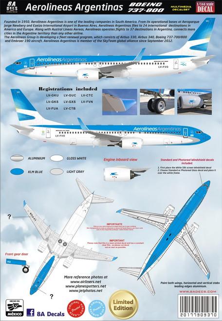 1/144 Scale Decal Aerolineas Argentinas 737-800 2015
