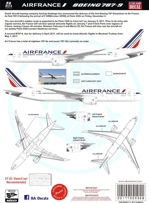 1/144 Scale Decal Air France Boeing 787-9