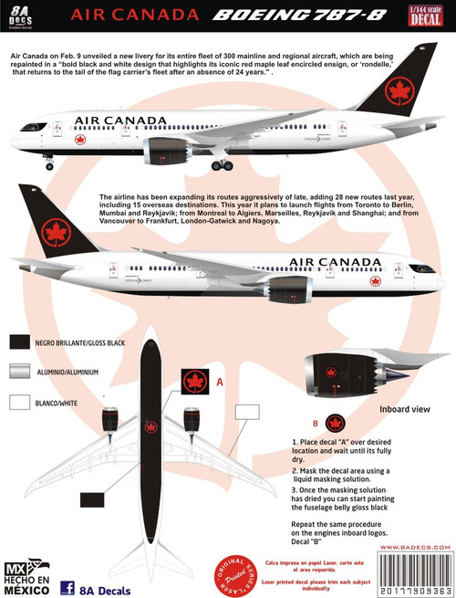 1/144 Scale Decal Air Canada 787-8 2017