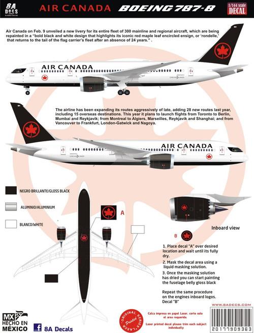 1/144 Scale Decal Air Canada 787-8 2017