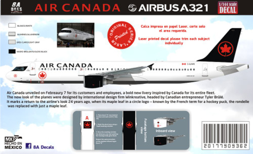 1/144 & 1/200 Scale Decal Air Canada A-321 2017