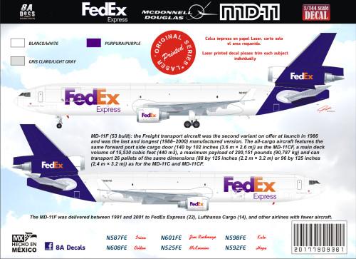 1/144 Scale Decal FEDEX MD-11