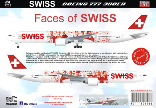1/144 Scale Decal Swissair 777-300ER Faces of Swiss