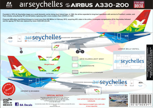 1/144 Scale Decal Air Seychelles A330-200