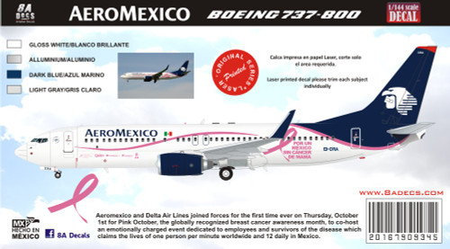 1/144 Scale Decal Aeromexico 737-800 Cancer