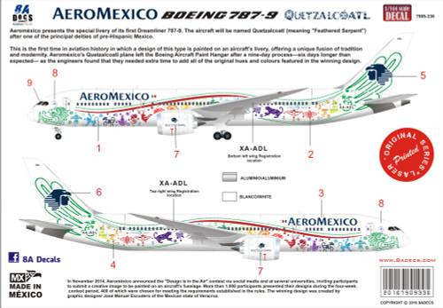 1/144 Scale Decal Aeromexico 787-9  Quetzalcoatl