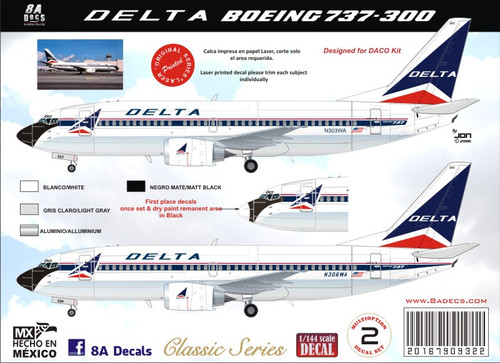 1/144 Scale Decal Delta 737-300 Widget