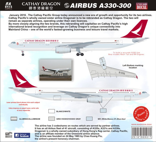 1/144 Scale Decal Cathay Dragon A-330