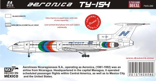 1/144 Scale Decal Tu-154 Aeronica