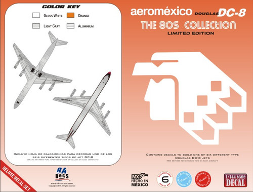 1/144 Scale Decal Aeromexico DC-8 80s Collection
