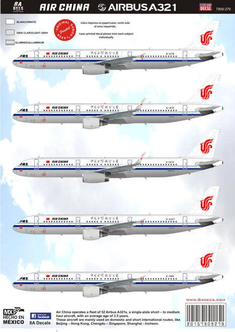 1/144 Scale Decal Airbus A321 Air China