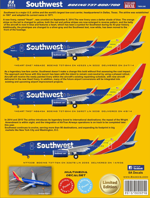 1/144 Scale Decal Southwest 737-800 2015
