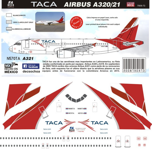 1/144 Scale Decal TACA A-320 / A-321 2010