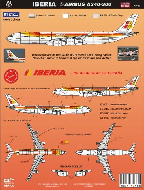 1/144 Scale Decal Iberia A-340
