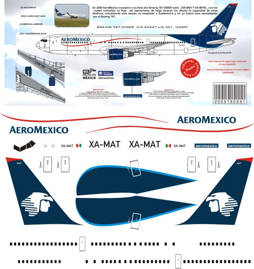 1/144 Scale Decal Aeromexico 767-300 2009