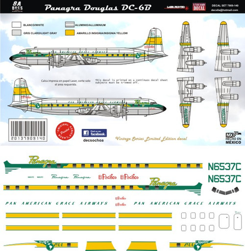 1/144 Scale Decal Panagra DC-6B