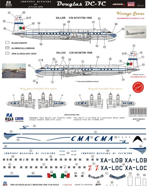 1/144 Scale Decal CMA Compania Mexicana de Aviacion DC-7
