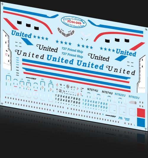 1/144 Scale Decal United Stars & Bars 727-100 / 200