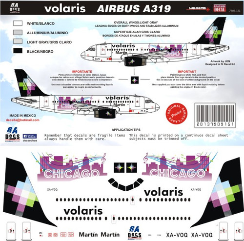 1/144 Scale Decal Volaris A-319 Chicago