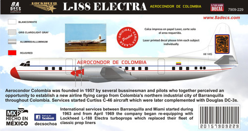 1/144 Scale Decal Aerocondor Colombia Electra