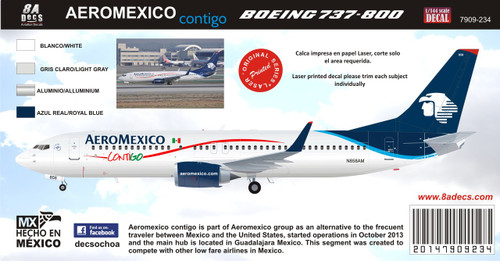 1/144 Scale Decal Aeromexico 737-800 Contigo