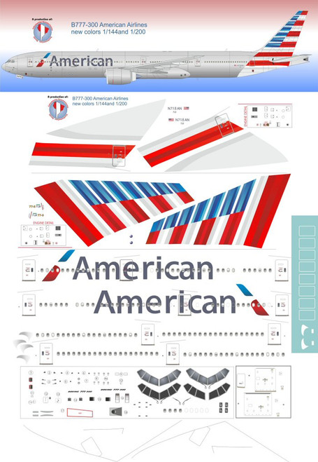 1/144 Scale Decal American 777-300