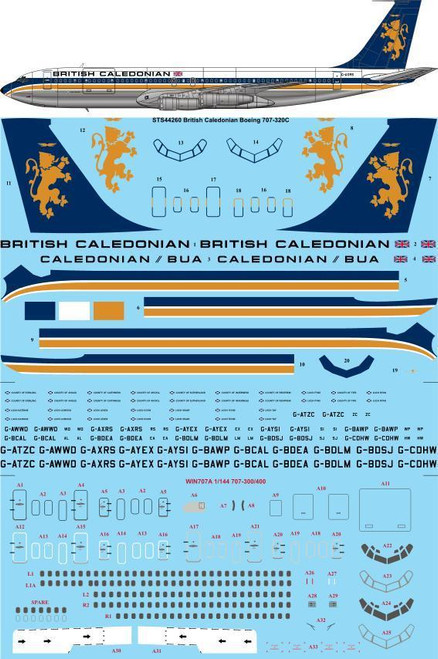 1/144 Scale Decal British Caledonian Boeing 707-320C