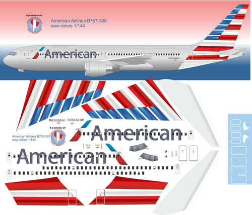 1/144 Scale Decal American 767-300