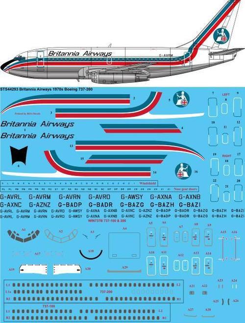 1/144 Scale Decal Britannia Airways 1970s Boeing 737-200
