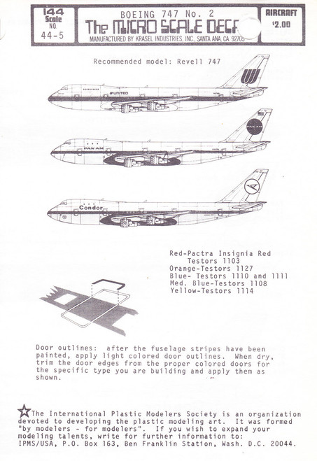 1/144 Scale Decal Pan Am / Condor / United 747
