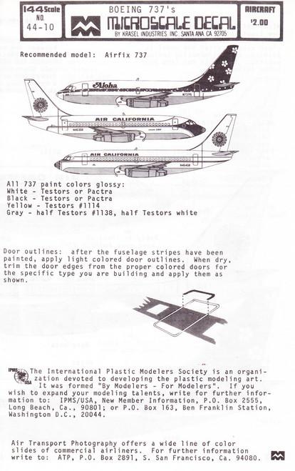1/144 Scale Decal Aloha / Air California 737-200